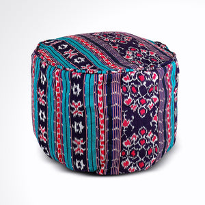 Round Ikat Pouf Ottoman, Blue, Black and Red. Cover Only with No Insert.