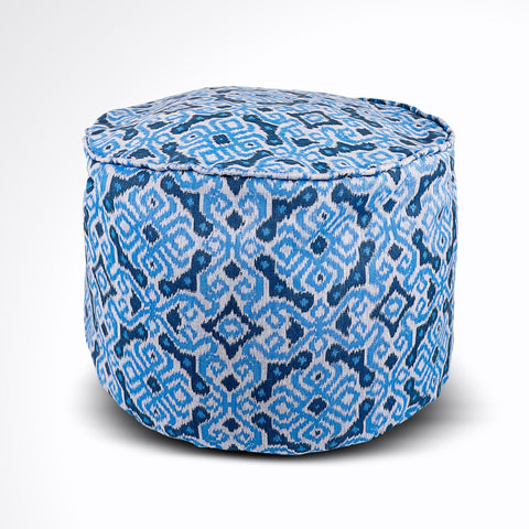 Round Ikat Pouf Ottoman, Blue and White. Ethnic, Boho Pouf, Floor Cushion. Handwoven in Indonesia.