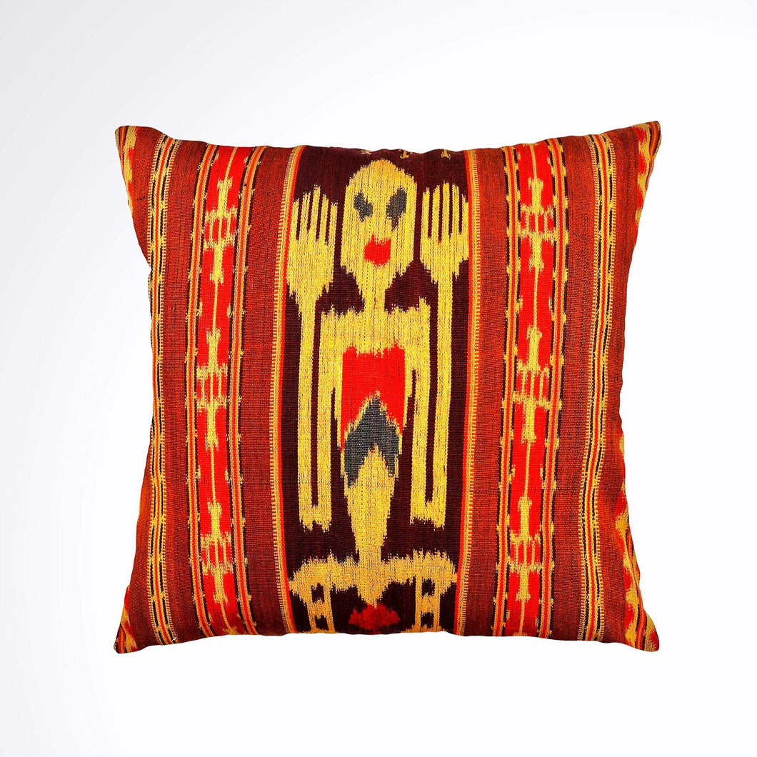 Ikat Pillow Cover, Red, Brown and Black. Ethnic, Boho Cushion Case. Handwoven in Indonesia. 16inches x 16inches