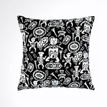 "Load image into Gallery viewer, Batik, Ikat Pillow Cover, Black & White. Cover Only with No Insert. 16"" x 16"""