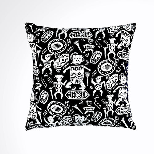 Batik, Ikat Pillow Cover, Black & White. Cover Only with No Insert. 16