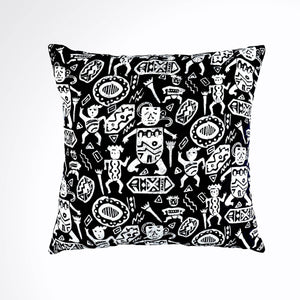 "Batik, Ikat Pillow Cover, Black & White. Cover Only with No Insert. 16"" x 16"""