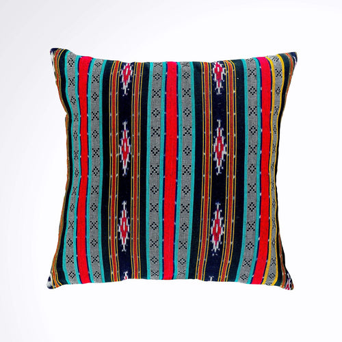 Batik, Ikat Pillow Cover, Black, Red, Blue Colorful. Ethnic, Boho Cushion Case. Handwoven in Indonesia. 20inches x 20inches