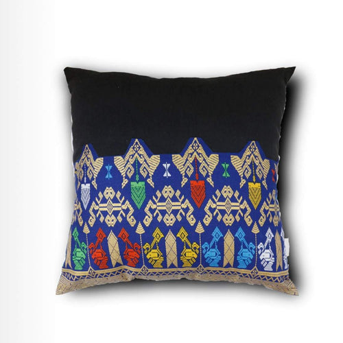 Ikat Pillow Cover, Black and Blue. Ethnic, Batik, Boho Cushion Case. Handwoven in Indonesia. 20