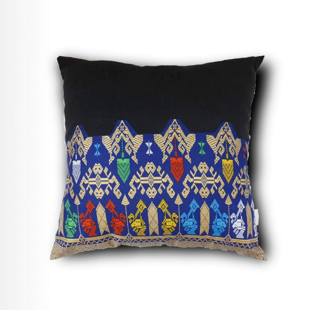 Ikat Pillow Cover, Black and Blue. Cover Only with No Insert. 16