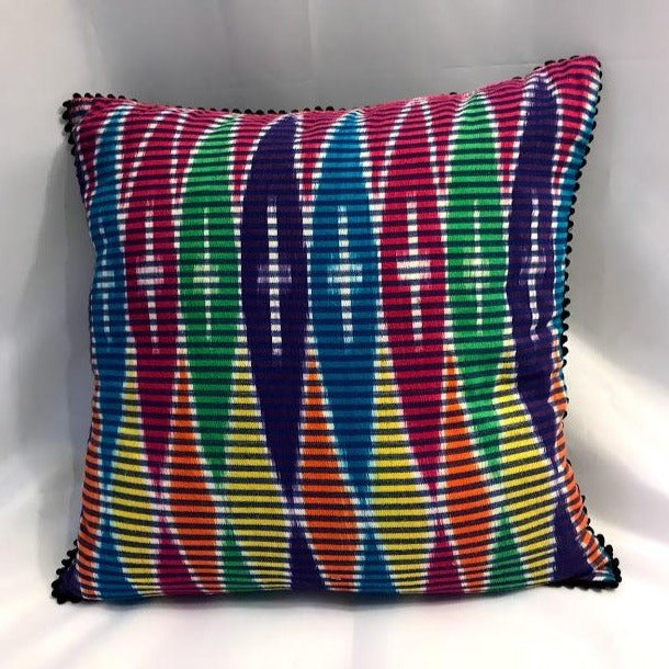 Ikat Pillow Cover, Pink Blue Yellow Colorful. Ethnic, Boho Cushion Case. Handwoven in Indonesia. 16inches x 16inches