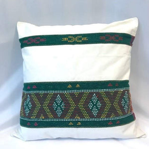 """Ikat Pillow Cover, White and Green. Cover Only with No Insert. 20"""" x 20"""""""