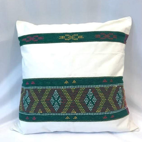 Ikat Pillow Cover, White and Green. Cover Only with No Insert. 20