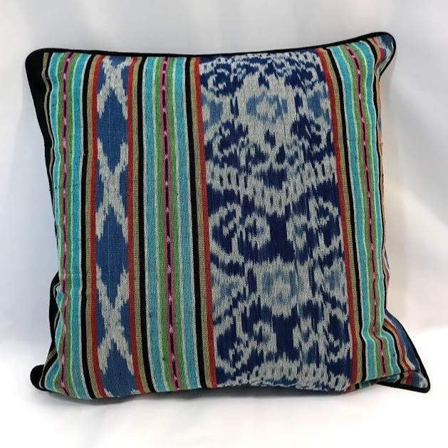 Ikat Pillow Cover, Blue Indigo with Border. Ethnic, Boho Cushion Case. Handwoven in Indonesia. 20