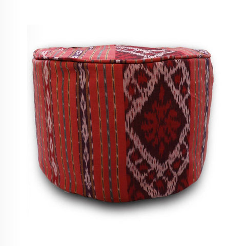Round Ikat Pouf Ottoman, Red. Ethnic, Boho Pouf, Floor Cushion. Handwoven in Indonesia.