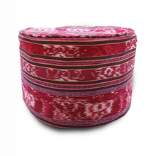 "Load image into Gallery viewer, Round Ikat Pouf Ottoman, Red. Cover Only with No Insert. 20"" inches W x 13.5 inches H"