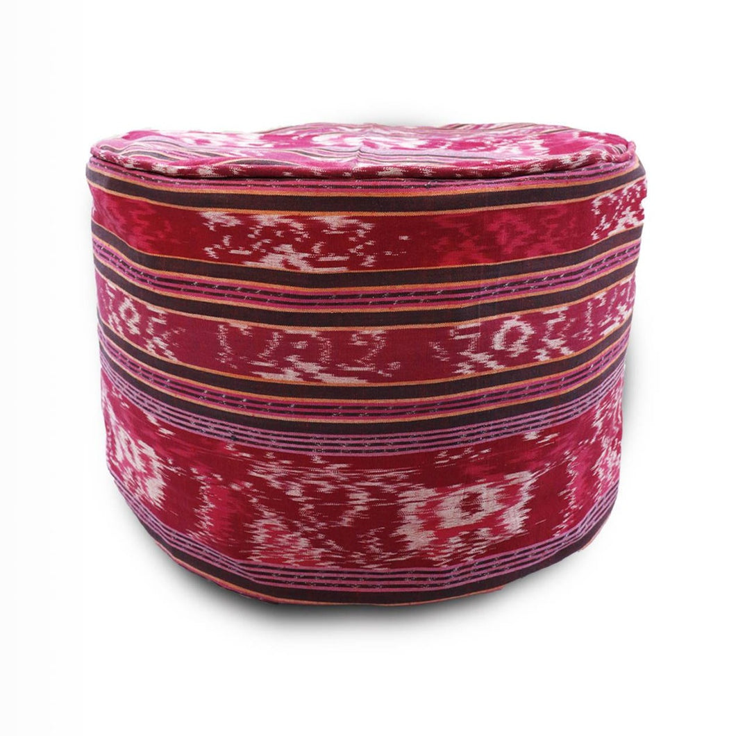 Round Ikat Pouf Ottoman, Red. Cover Only with No Insert. 20
