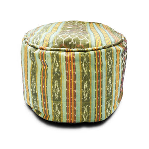 Round Ikat Pouf Ottoman, Light Green. Cover Only with No Insert.