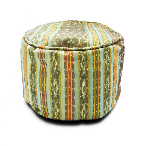 Round Ikat Pouf Ottoman, Light Green. Ethnic, Boho Pouf, Floor Cushion. Handwoven in Indonesia.