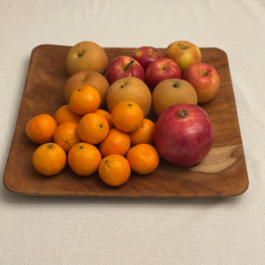 Handmade Teak Wood Square Plate 15.75inches