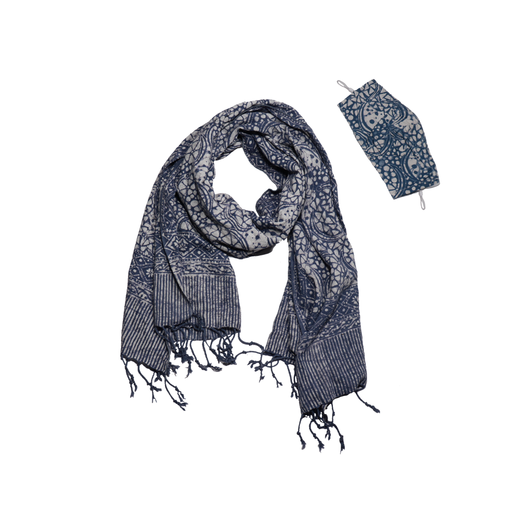 Batik Gili Face Covering & Scarf Set - Stone