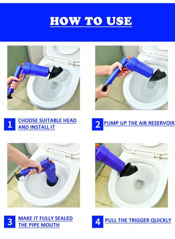 Air Blow Gun Easy Unclogs Sinks And Toilets With A Trigger