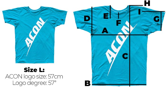 ACON t-shirt sizes
