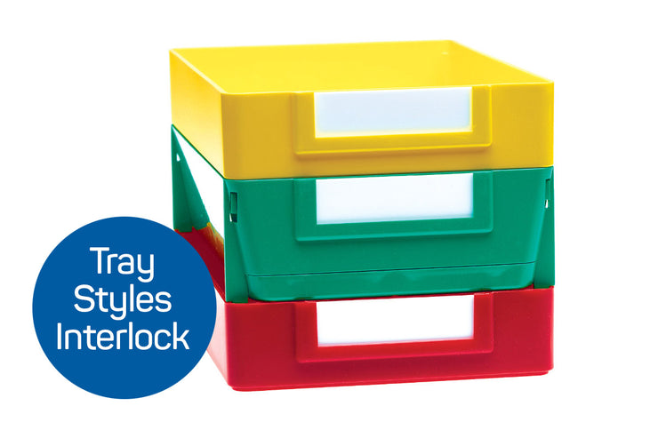 Plastic Stackable Shop Trays interlocking with Click 'n Stack Extra Deep Job Trays