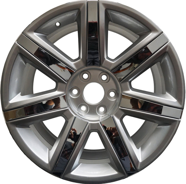 "22"" CADILLAC SILVER WITH CHROME INSERTS RIMS FITS ESCALADE EXT ESV BRAND NEW"