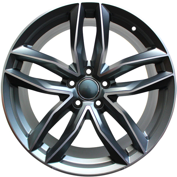 18 Inch Audi Rims A4 A5 A6 A7 A8 S4 S5 S6 S7 S8 RS5 RS6 RS7 Gunmetal Machined Wheels