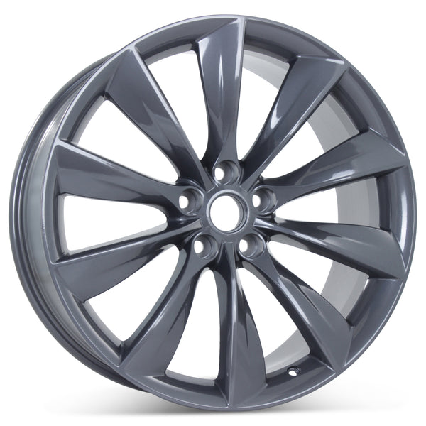 "21"" Turbine Style Gunmetal Set of 4 Wheels Rims Fits Tesla Model S"