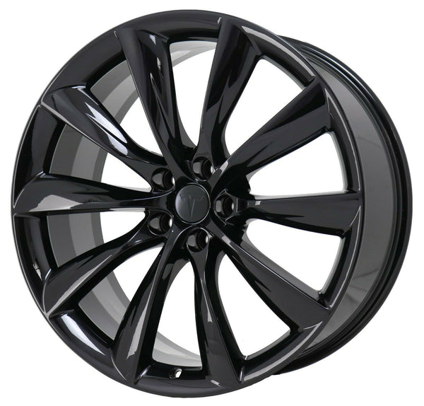 "22"" Turbine Style Staggered Gloss Black Set of 4 Wheels Rims Fits Tesla Model X"