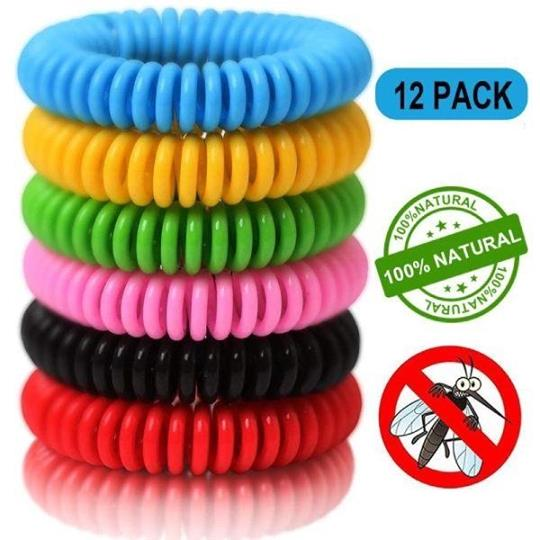 12 Pack Natural Waterproof Reusable Mosquito Repellent Bracelets