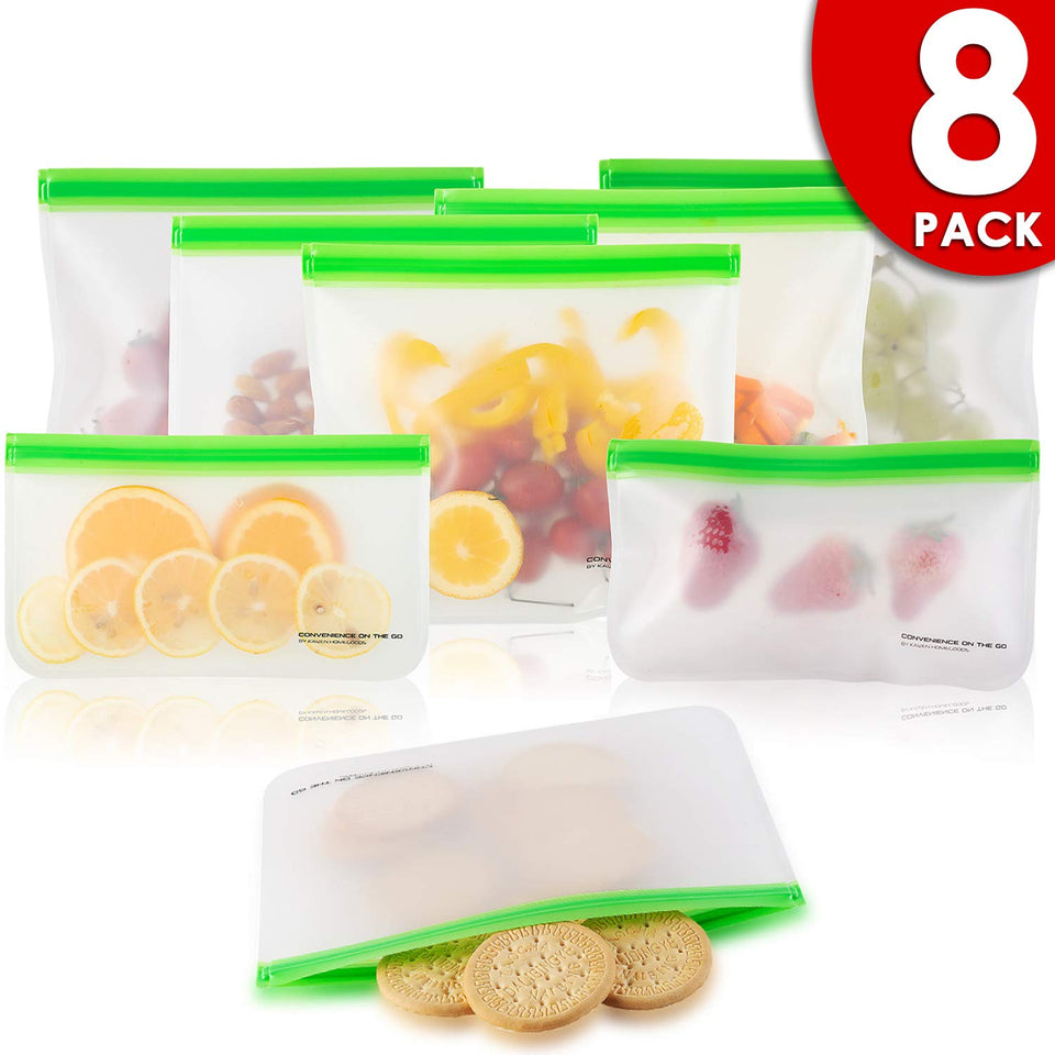 8 Pack Eco Friendly Reusable Food Storage Bags