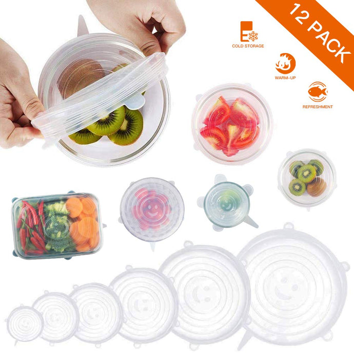 12 Pack Eco-Friendly Silicone Stretch Lids