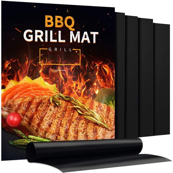 5 PC 100% Non-Stick BBQ Grill Reusable Heavy Duty Mats
