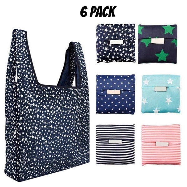 Stars & Stripes 6 PC Ripstop Waterproof Machine Washable Grocery Bags