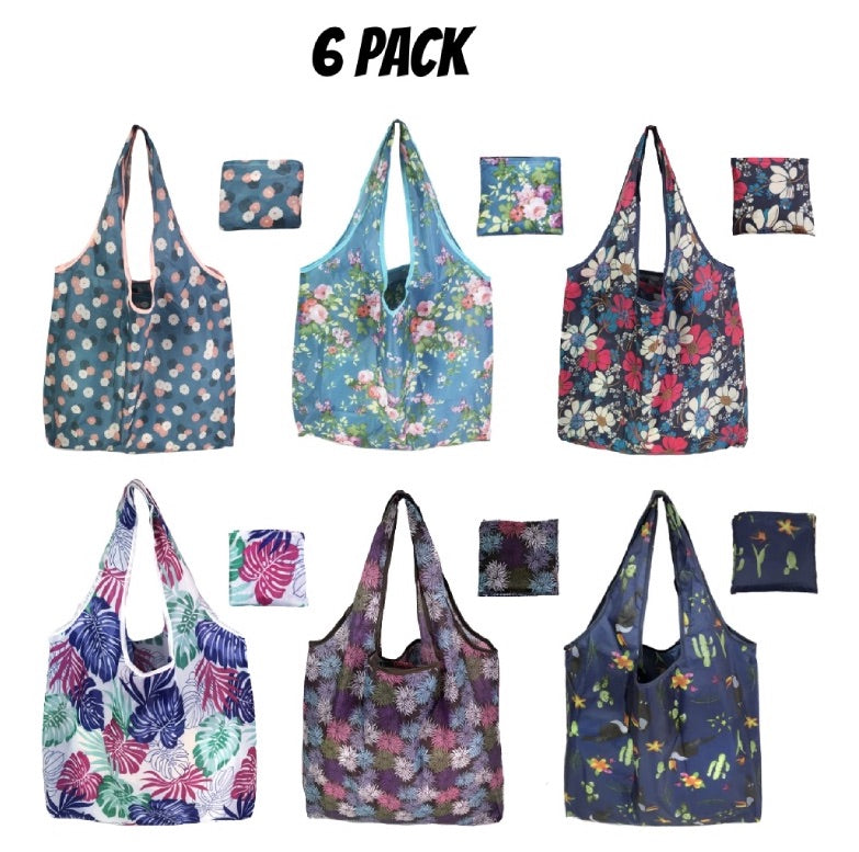 Flowers 6 PC Ripstop Waterproof Machine Washable Grocery Bags