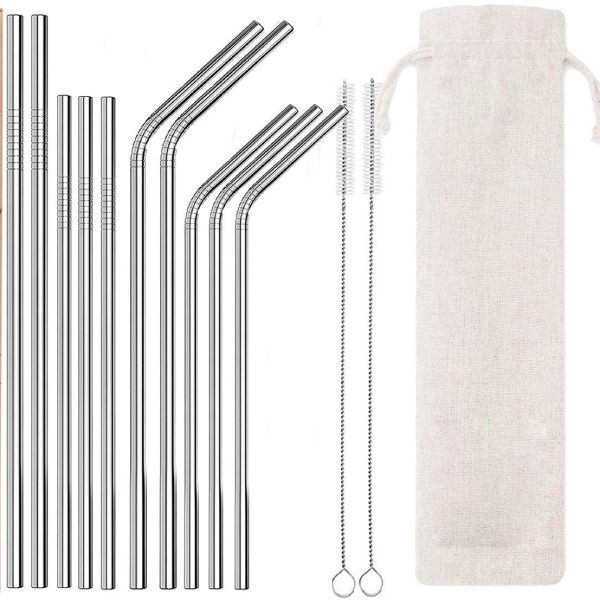 10 PC Reusable Stainless Steel Straws