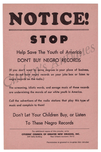 1960s ANTI R&B Soul Rock Roll Music Race Records Boycott Handbill