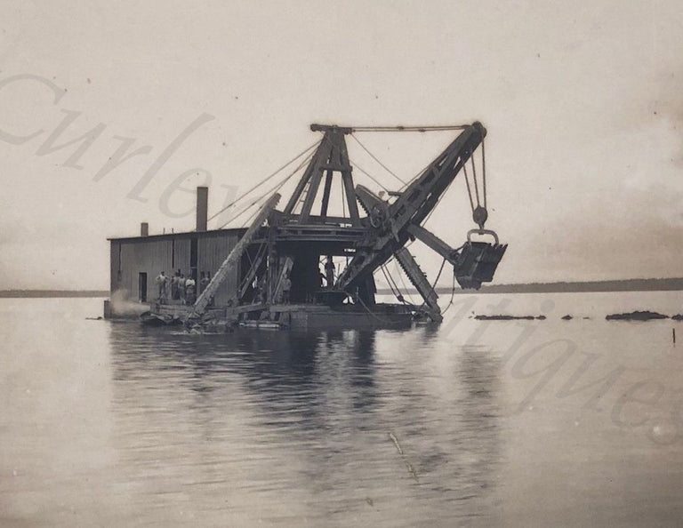 Antique 1910s Steam Shovel Dredge Dipper Canal Construction Platinum Photos