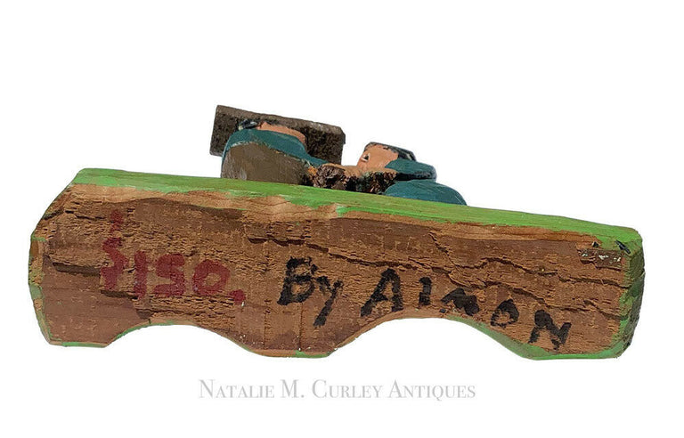 Leroy Almon Signed Figural Love Folk Art Wood Carving