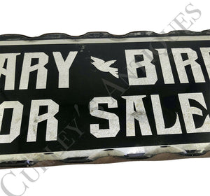 Vintage 1910s CANARY BIRDS SALE Foil Painted Glass Folk Art Deco Store Sign