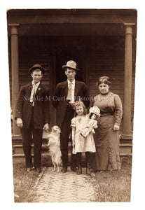 Vintage 1910s Family Portrait w/ DOG Photo RPPC