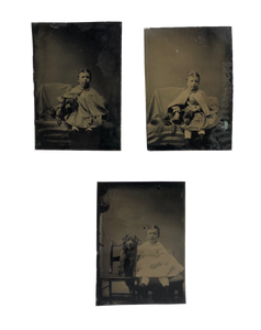Antique 19thc Boy Child Dog Tintype Series Photos