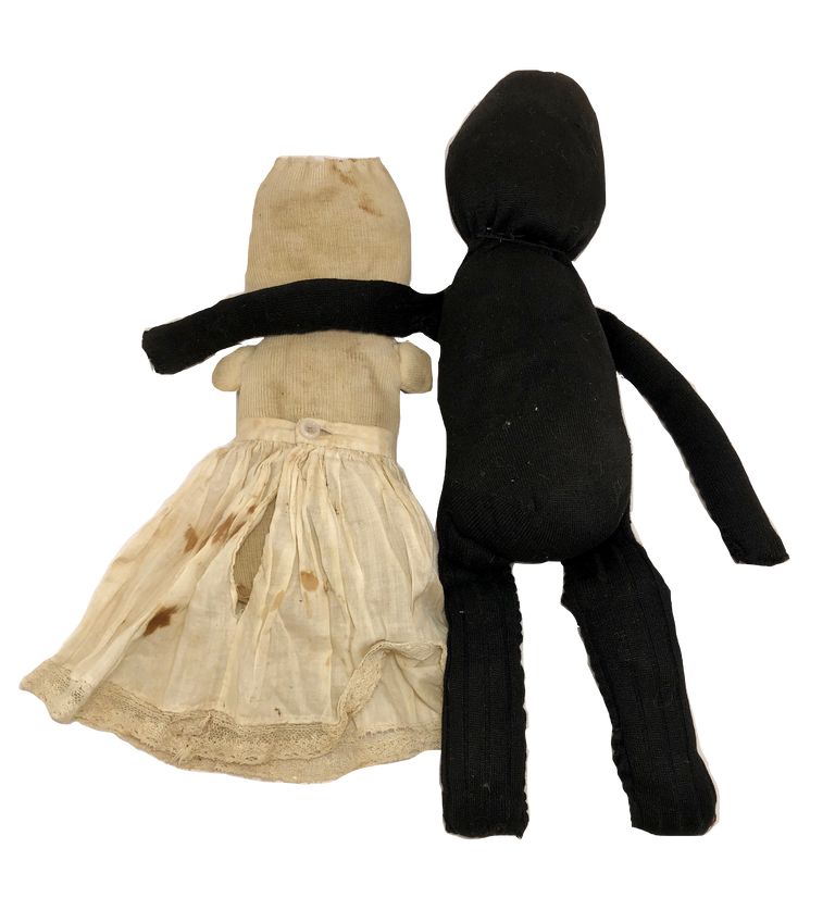 PR 1900 Folk Art Antique Make Do Sock Dolls