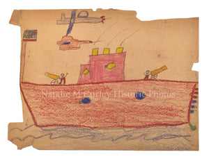 WWII Era Military Child's Folk Art Crayon Drawings