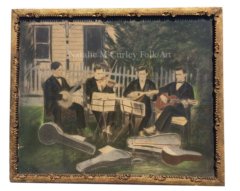 Vintage 1910s String Band Music Hand Colored Chalk Folk Art Photo