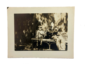 Vintage 1920s Young Boy His Father & Baby Alligator Photo
