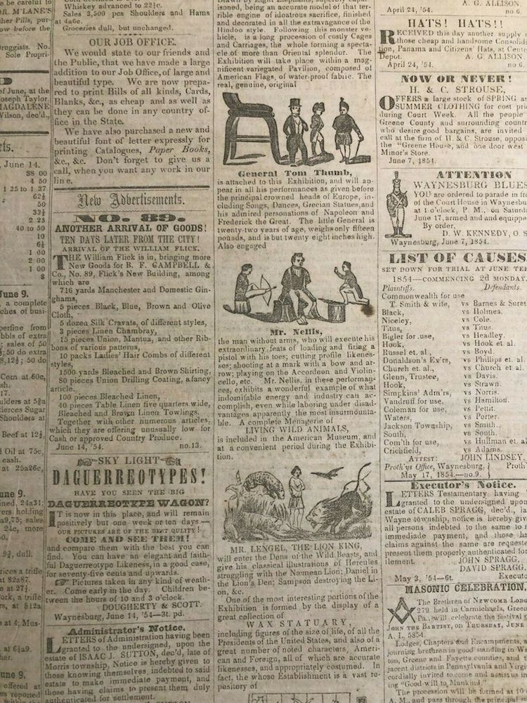 1850s P.T. Barnum Museum Circus Sideshow Newspaper Ads