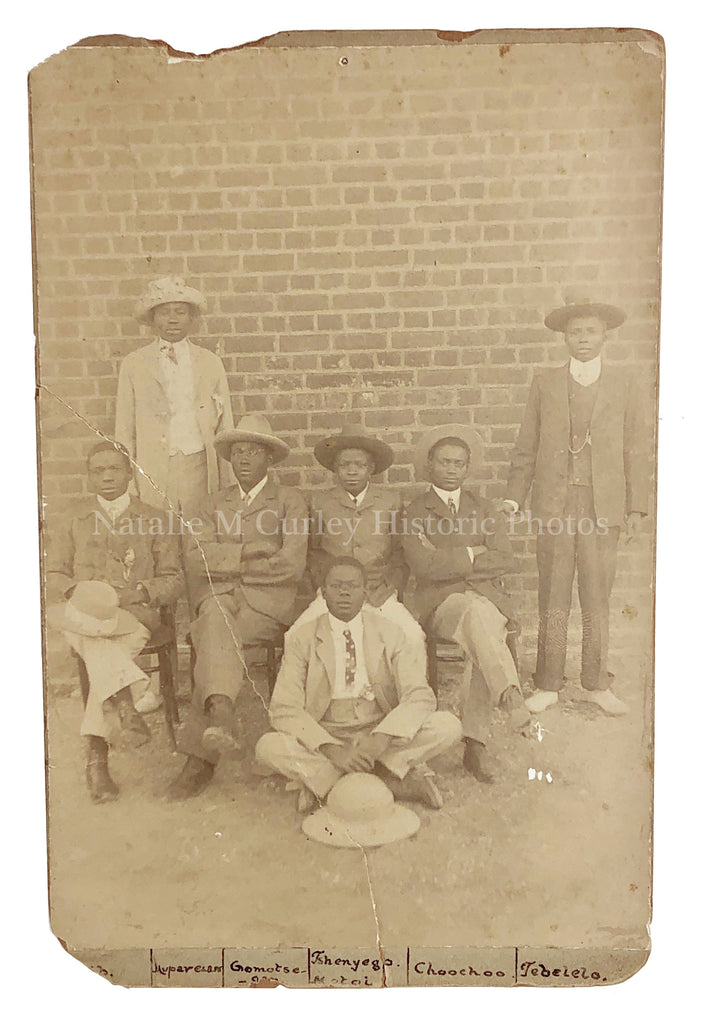 1910s Botswanan Men British Colonial Southern Africa Cabinet Photo