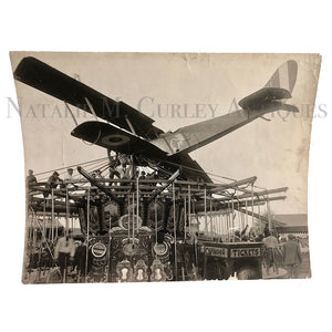 Vintage 1919 Barnstormer Pilot Johnny J. Jones Midway Carousel Plane Crash Photo
