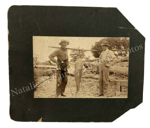 1900s Men Fishing 70 LB Catfish Swamp Frontier Photo