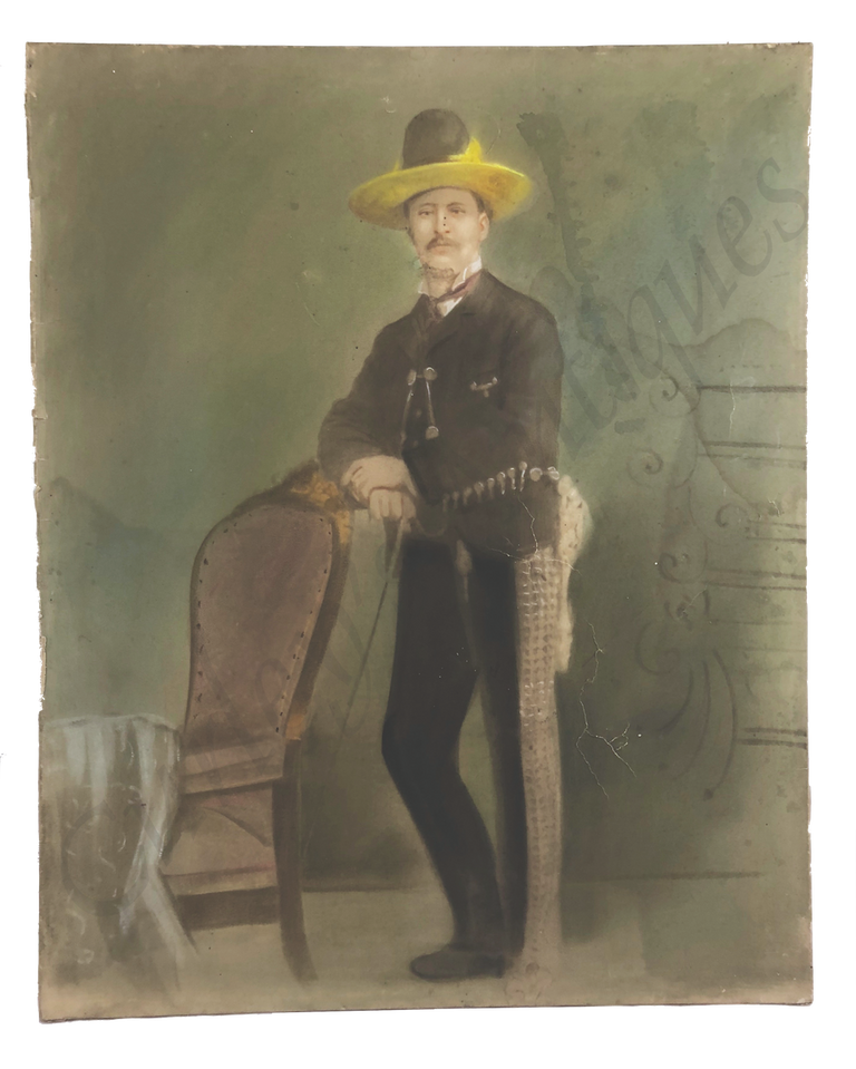 Antique 19thc Victorian Old Mexico Charro Suit Chalk Portrait Photo