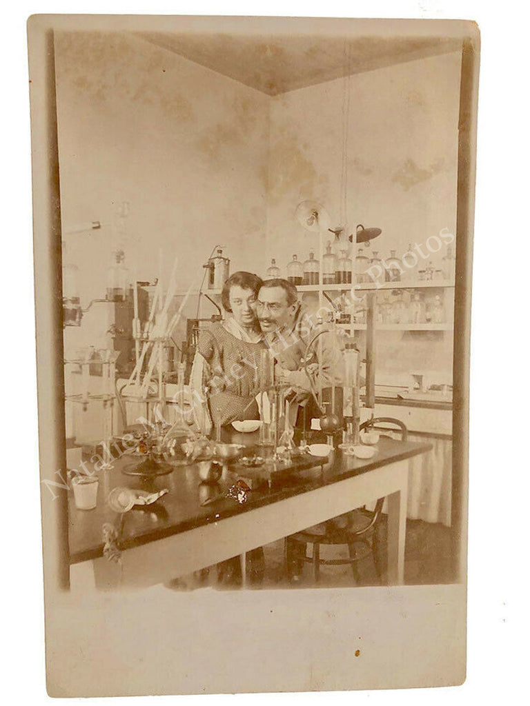 1910s Chemist Laboratory Interior Photo RPPC